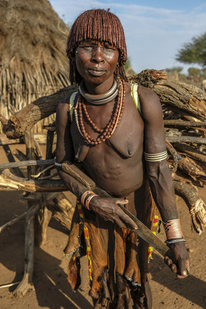 Turmi, Ethiopia - January 25: Unidentified Hamer tribe woman. Hamer woman usually comb their hairs with soil on January 25, 2018 in Turmi, Amo valley, Ethiopia. Editorial