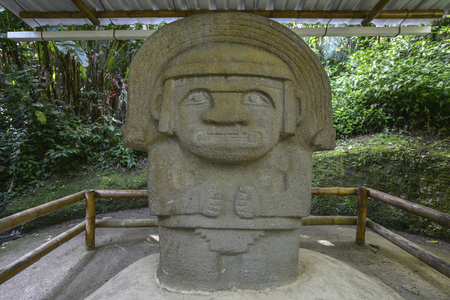 Ancient pre-columbian statues in San Agustin, Colombia. Archaeological Park, an altitude of 1800 meters at the source of the Magdalena River, in the Valley of the statues.