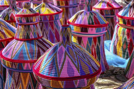 Cestas en el mercado de cestas de Aksum en Aksum, Etiopía.