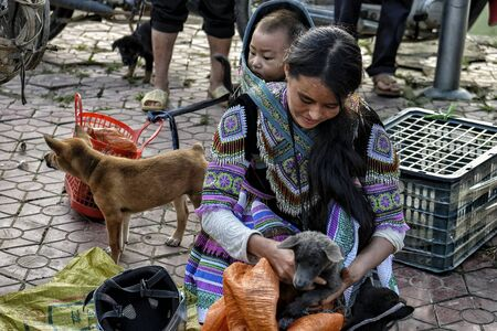 Bac Ha, Vietnam - August 26, 2018: Unidentified people buying and selling dogs at Sunday market on August 26, 2018 in Bac Ha, Vietnam.