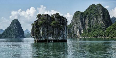 Karst landscape by Halong Bay in Vietnam.