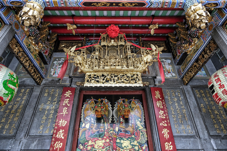 Ho Chi Minh City, Vietnam - August 8: Nghia An Hoi Quan Pagoda, built in the early 19th century in Cholon on August 8, 2018 in Ho Chi Minh City.