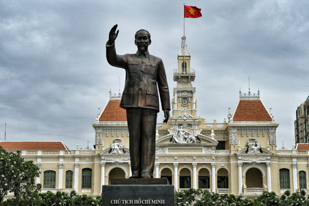 Ho Chi Minh City, Vietnam - August 7: Bronze statue of Ho Chi Minh City opposite the Ho Chi Minh City Hall on August 7, 2018 in Ho Chi Minh City, Vietnam. Redakční