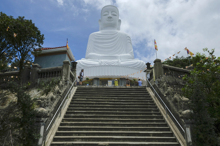 Danang, Vietnam - August 18: White Buddha statue at the Linh Ung Pagoda in the Ba Na Hills on August 18, 2018 in Danang, Vietnam.
