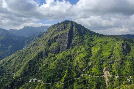 Aerial panoramic view of Ella Rock in Ella, Sri Lanka.