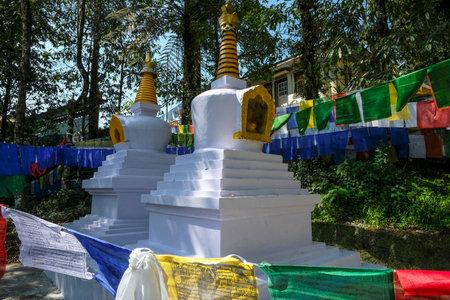 Gangtok, India - October 2020: Stupas at the Enchey Monastery in Gangtok on October 22, 2020 in Gangtok, Sikkim, India. Editorial