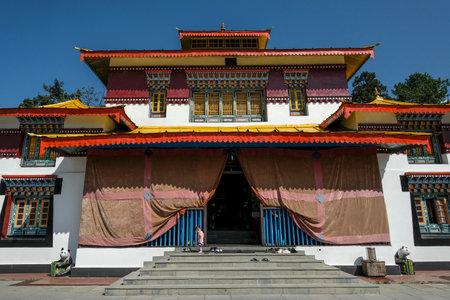Gangtok, India - October 2020: Facade of the Enchey monastery in Gangtok on October 22, 2020 in Gangtok, Sikkim, India. Editorial