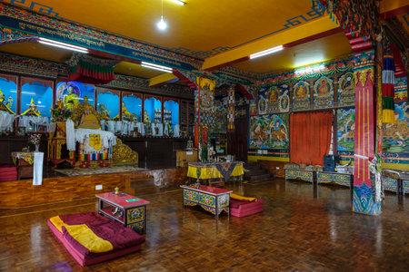 Gangtok, India - October 2020: Interior of the Sera Jey Drophenling Monastery in Gangtok on October 23, 2020 in Gangtok, Sikkim, India.
