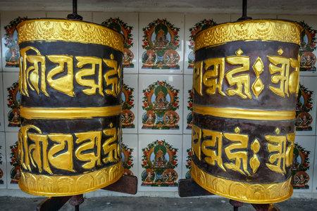 Gangtok, India - October 2020: Prayer wheel at Sera Jey Drophenling Monastery in Gangtok on October 23, 2020 in Gangtok, Sikkim, India.