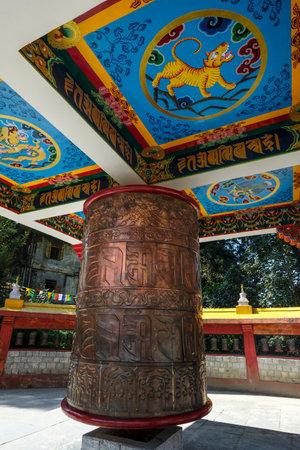 Gangtok, India - October 2020: Prayer wheel at Enchey Monastery in Gangtok on October 22, 2020 in Gangtok, Sikkim, India. Editorial