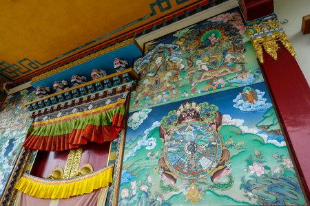 Gangtok, India - October 2020: Facade of the Sera Jey Drophenling Monastery in Gangtok on October 23, 2020 in Gangtok, Sikkim, India.