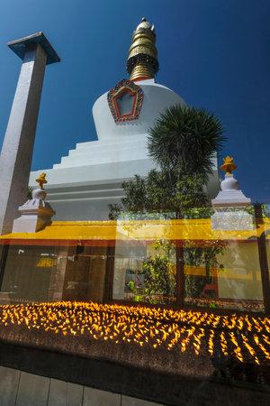 Gangtok, India - October 2020: Stupa in the Do Drul Chorten Monastery in Gangtok on October 24, 2020 in Gangtok, Sikkim, India.