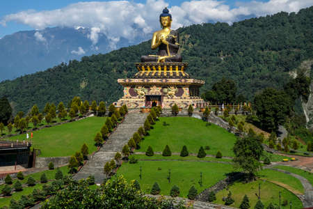 Ravangla, India - October 2020: Buddha Park of Ravangla, also known as Tathagata Tsal on October 28, 2020 in Ravangla, Sikkim, India.