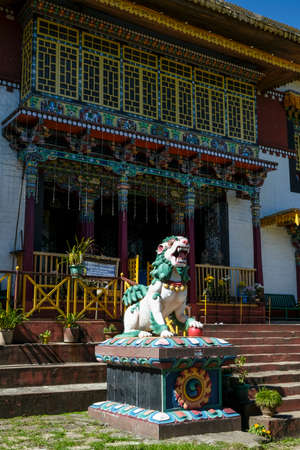 Pelling, India - October 2020: Statue of a lion in the Pemayangtse Monastery on October 30, 2020 in Pelling, Sikkim, India.