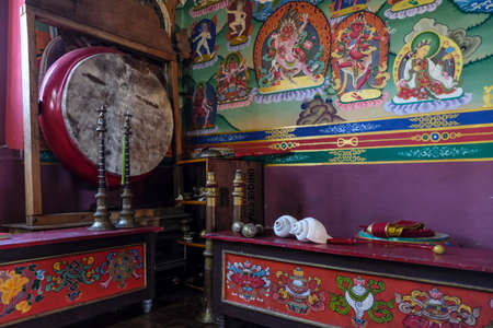 Pelling, India - October 2020: Detail of the Buddhist Sanghak Choeling Monastery in Pelling on October 31, 2020 in Sikkim, India.