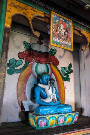 Pelling, India - October 2020: Buddha statue at the Buddhist Sanghak Choeling Monastery in Pelling on October 31, 2020 in Sikkim, India.