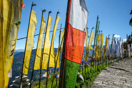Pelling, India - October 2020: Prayer flags in the Buddhist Sanghak Choeling Monastery in Pelling on October 31, 2020 in Sikkim, India.