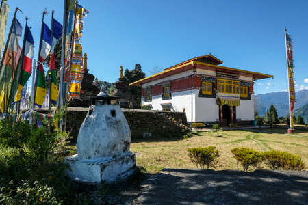 Pelling, India - October 2020: The Buddhist Sanghak Choeling Monastery in Pelling on October 31, 2020 in Sikkim, India.