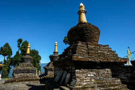Pelling, India - October 2020: Stupas at the Buddhist Sanghak Choeling Monastery in Pelling on October 31, 2020 in Sikkim, India.