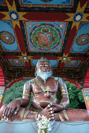 Yuksom, India - November 2020: Statue of Thangtong Gyalpo in Thang Gyal Monastery on November 1, 2020 in Yuksom, Sikkim, India.