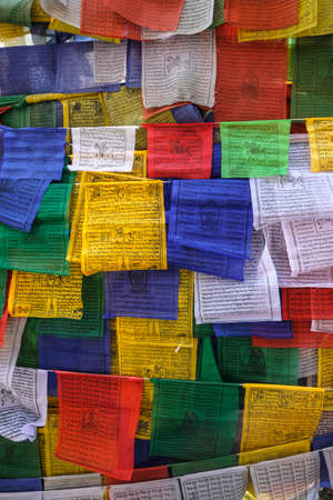 Siliguri, India - November 2020: Prayer flags at a Buddhist temple in Siliguri on November 7, 2020 in West Bengal, India. Editorial