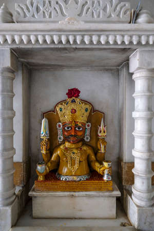 Tezpur, India - November 2020: Statue in the Shree Jain Swetamber Gauri Parswanath Temple in Tezpur on November 14, 2020 in Assam, India.
