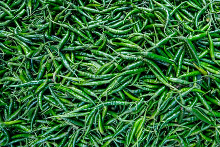 Detail of some chili peppers in the Tezpur market in Assam, India.