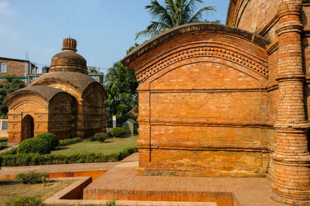 Gunavati Group of Temples. It is a group of three brick temples built in 1668 in the city of Udaipur, the ancient capital of Tripura. India. Stock Photo
