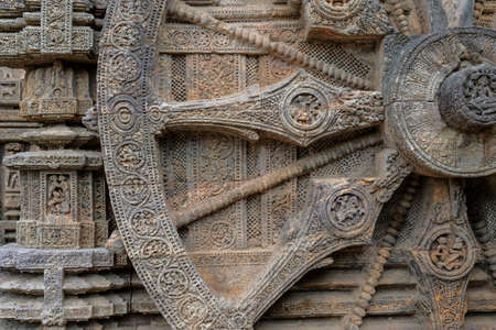 Detail of the Sun Temple was built in the 13th century and designed as a gigantic chariot of the Sun God, Surya, in Konark, Odisha, India.