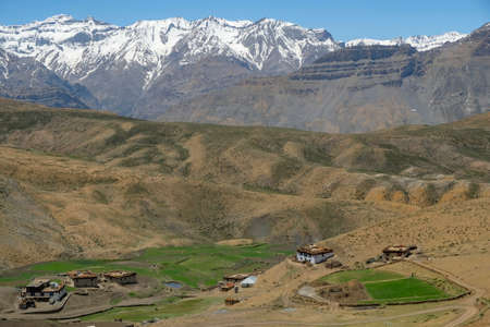 Panoramic view of Komic village in the Spiti valley in the Himalayas, Himachal Pradesh, India.