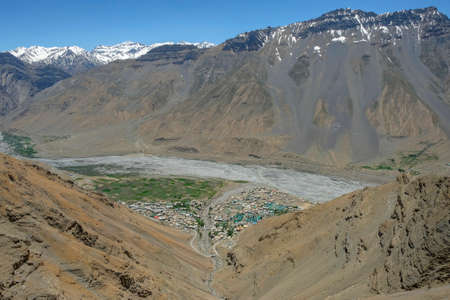Views of Kaza located beside the Spiti River in the Spiti Valley, Himachal Pradesh, India.