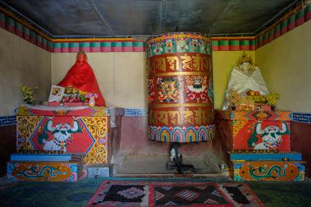 Prayer wheel in the village of Nako in Himachal Pradesh, India.