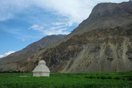 Stupa near the Tabo Monastery in Tabo village, Spiti valley, Himachal Pradesh, India.