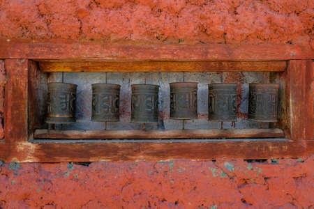 Prayer wheels in the village of Nako in Himachal Pradesh, India.