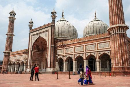 Delhi, India - August 2021: The Jama Masjid Mosque in Delhi is the largest in India on August 3, 2021 in Delhi, India.
