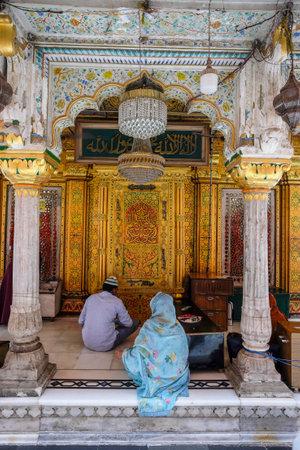 Delhi, India - August 2021: The Dargah Hazrat Nizamuddin marble shrine is dedicated to the Sufi Muslim saint Nizamuddin Auliya on August 7, 2021 in Delhi, India.