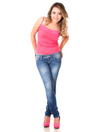 Casual feminine woman - isolated over a white background