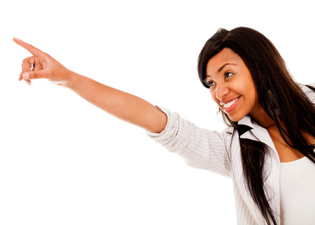 Woman pointing away with her finger - isolated over a white background  Stock Photo