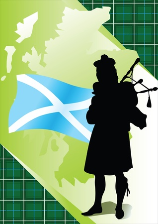 highlander: Piper sullo sfondo di carte geografiche e bandiere della Scozia