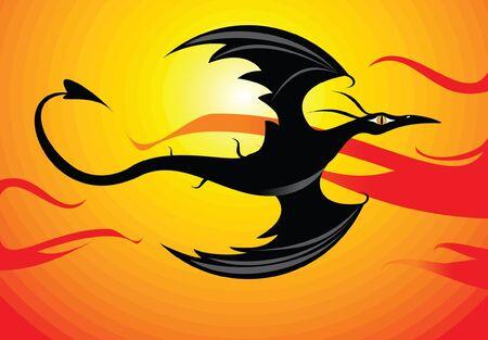 dragón negro al atardecer