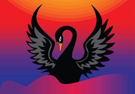 black sea: black swan on the sea waves