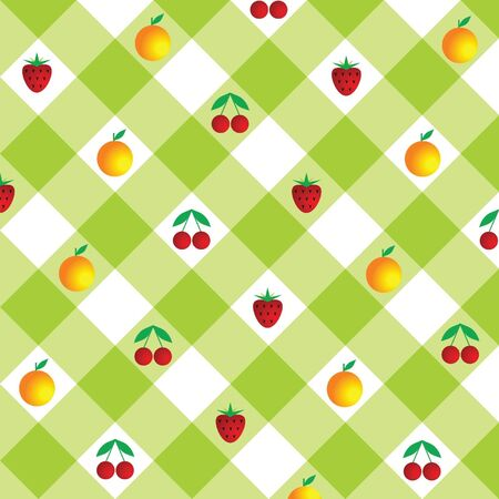 light green plaid background with fruit and berries
