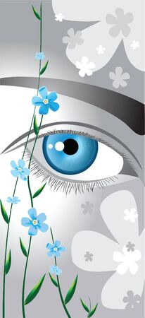 analogy: blue eyes framed by delicate blue flowers forget me not