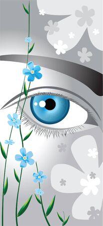 analog�a: ojos azules enmarcadas por delicadas flores azules me olviden no Vectores