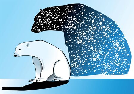 A lone polar bear in the snow Stock Vector - 9811028