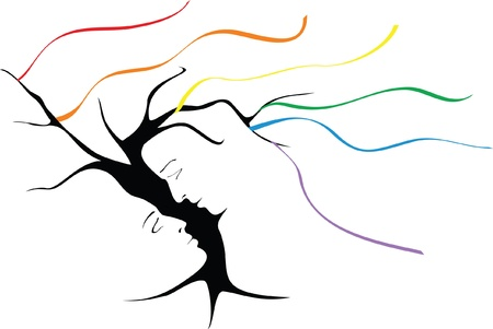 tree raduzhnyi ribbons - a symbol of homosexuality Stock Vector - 9811023