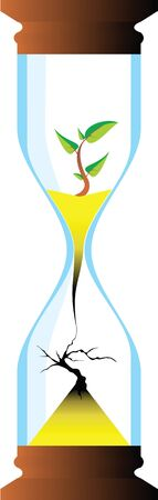 sandglass: hourglass with the young and the old tree