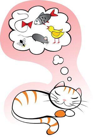 Cat dreams Stock Vector - 9811037