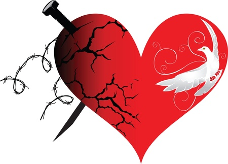 The heart in good and evil Stock Vector - 9811041