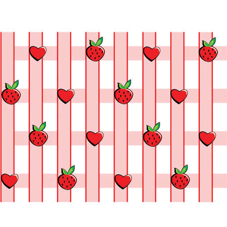 Strawberries and hearts on a pink checkered background Illustration